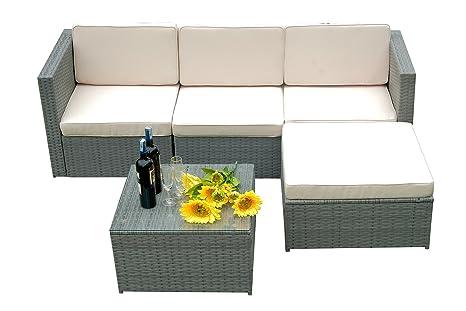 mcombo 5 pc Deluxe muebles de mimbre ratán de jardín al aire ...