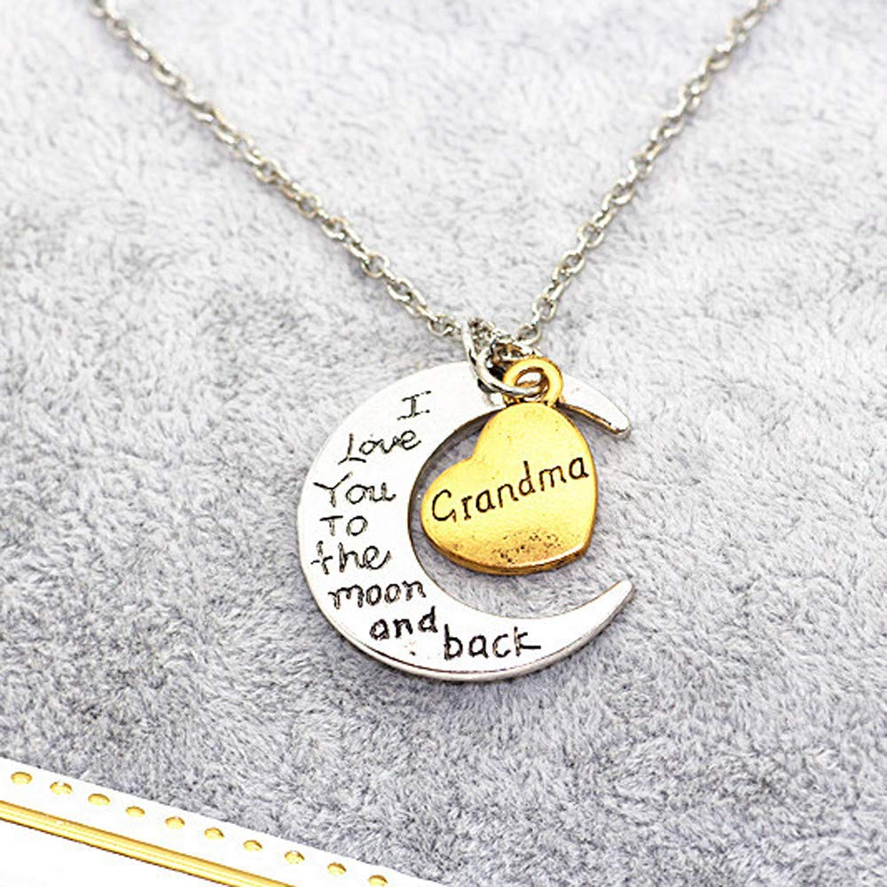WoCoo Family Necklace,I Love You to The Moon and Back Engraved Brothers and Sisters Pendant Necklace(I) by WoCoo (Image #2)