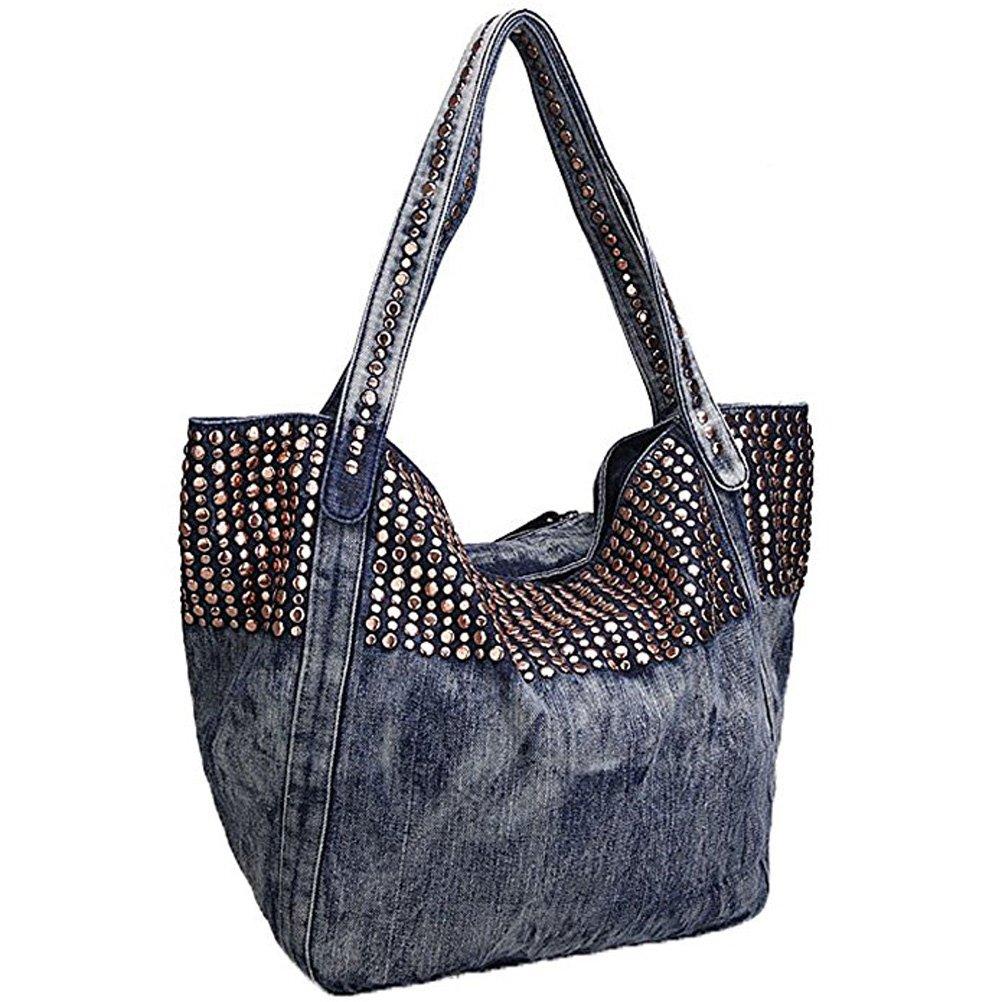 Donalworld Women Casual Denim Shoulder Bag Tote Handbag Pattern4