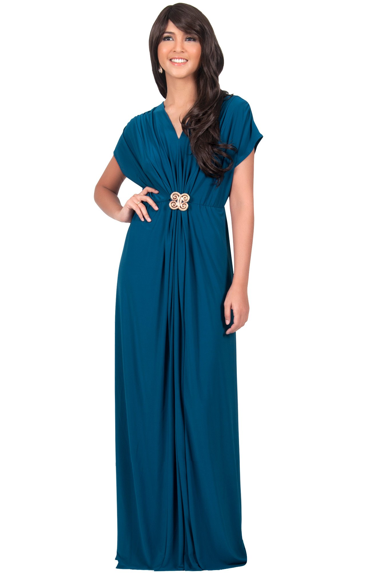 KOH KOH Womens Long Floor Length V-neck Short Sleeve Flowy Summer Spring Party Bridesmaids Semi Formal Maternity Prom Wedding Gown Gowns Maxi Dress Dresses, Blue Teal L 12-14