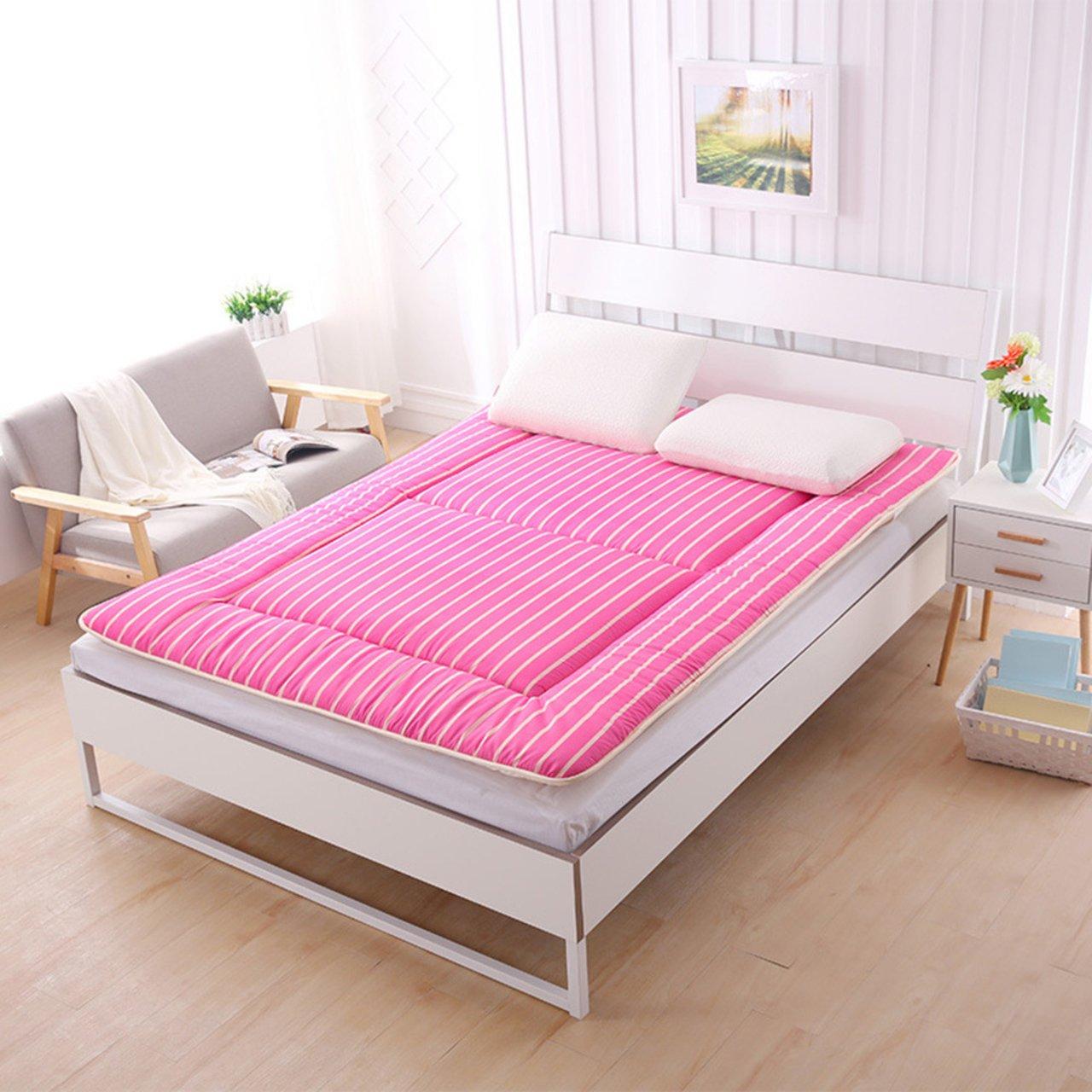 Yellow star Student dorm futon mattress topper,Tatami floor mat double mattress quilted foldable cushion mats non-slip foldable cushion mats-pink 90x195cm(35x77inch)