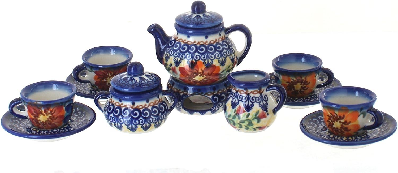 Polish Pottery Autumn Burst Miniature Tea Set