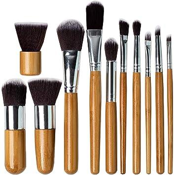Belleza Bon profesional pinceles de maquillaje, 11-Pc piezas con mango madera ideal para maquillaje de precisión, corte, incluye funda