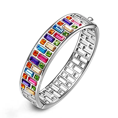 PAULINEMORGEN Bracelets For Mom Grandma 60th 70th Birthday Gifts Women Muticolor Swarovski Bangle