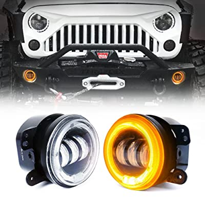 Xprite 4 Inch LED Fog Lights   w/Amber Yellow Halo Ring Angle Eye DRL 60W CREE Round Fog Light   for Jeep Wrangler JK 2007-2020 Off Road Fog Lamps   Front Bumper Replacements Foglights: Automotive