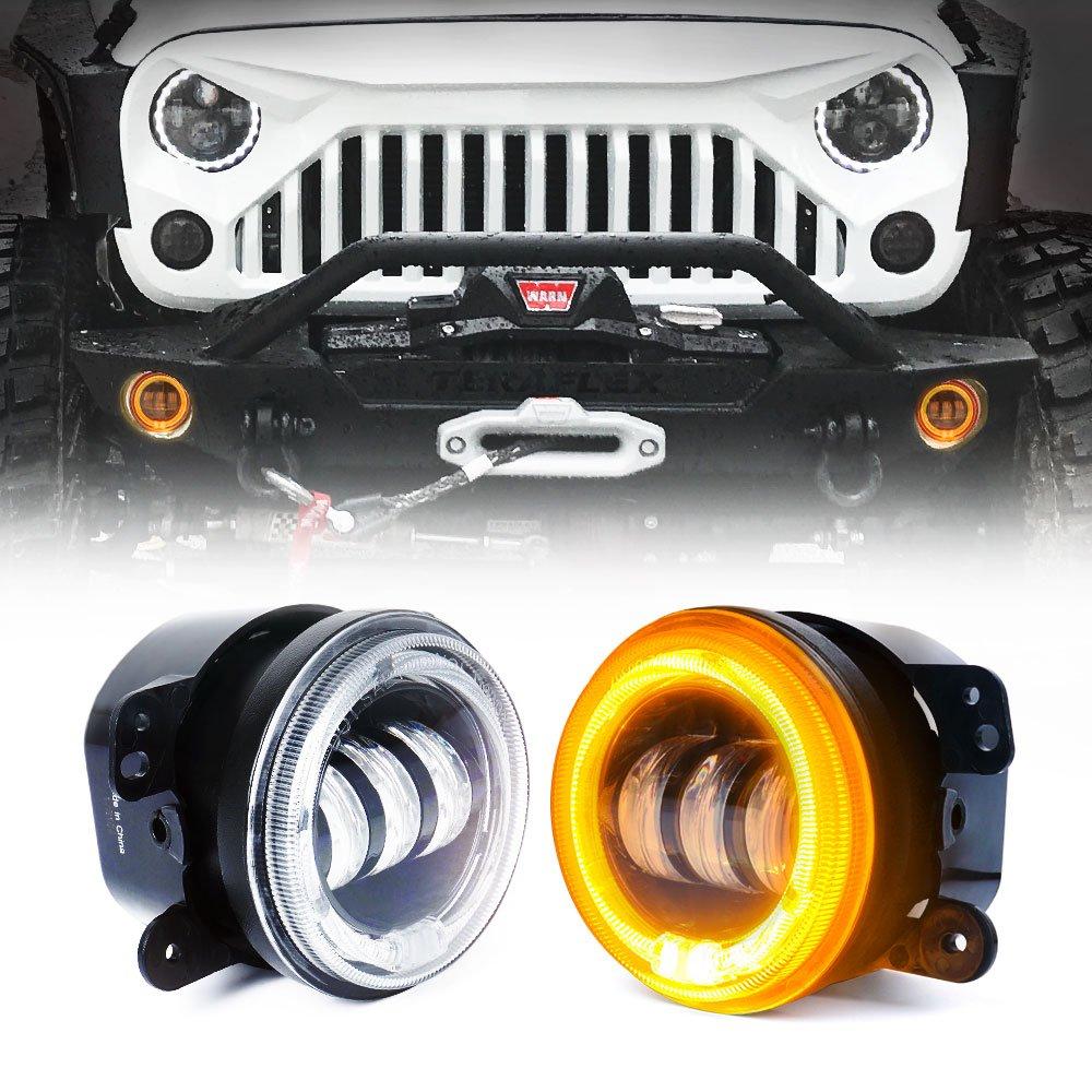 Xprite 4 Inch 60w Cree Led Fog Lights W Amber Orange Halo Ring Drl Jeep Wrangler Jk