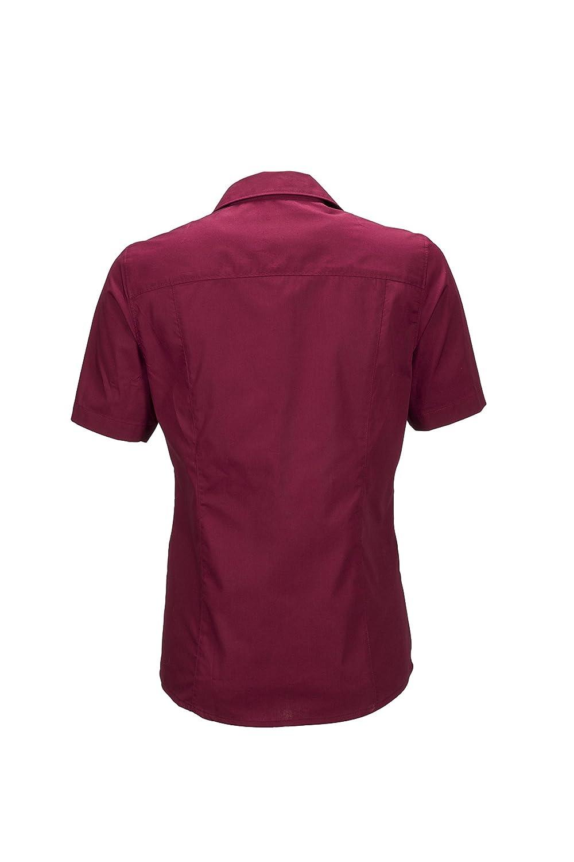 James & Nicholson dam dam business tröja kortärmad blus Röd (vin)