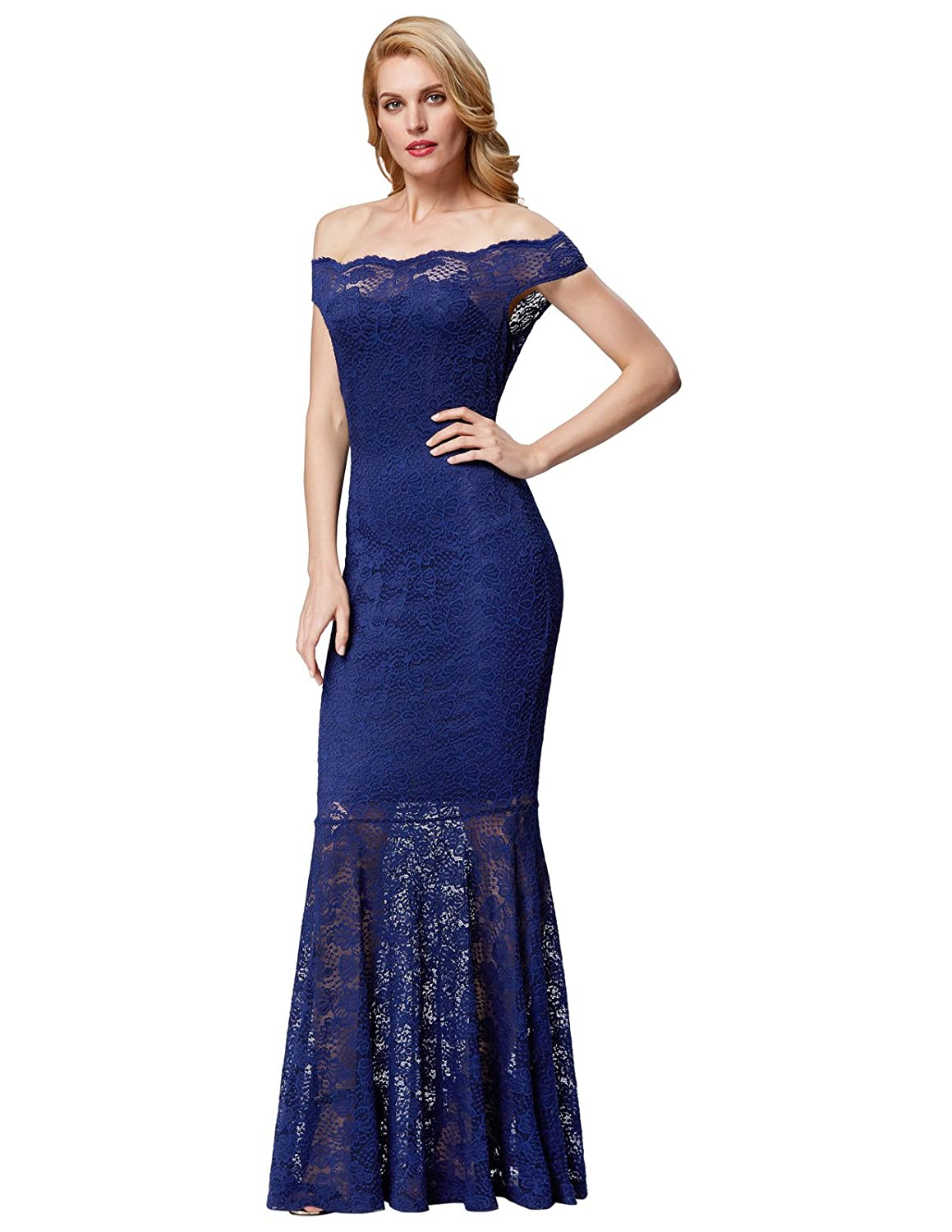 a492b302f74 Amazon.com  GRACE KARIN Women s Lace Beading Mermaid Evening Gown Prom  Fishtail Maxi Dress  Clothing