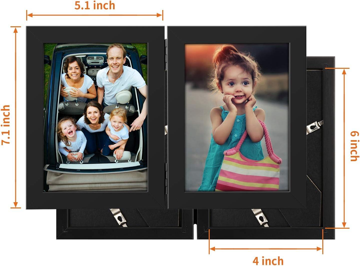 1pcs 4X6 inch Onewall Cadre Photo Double Pliable en Verre tremp/é Noir 10x15 cm