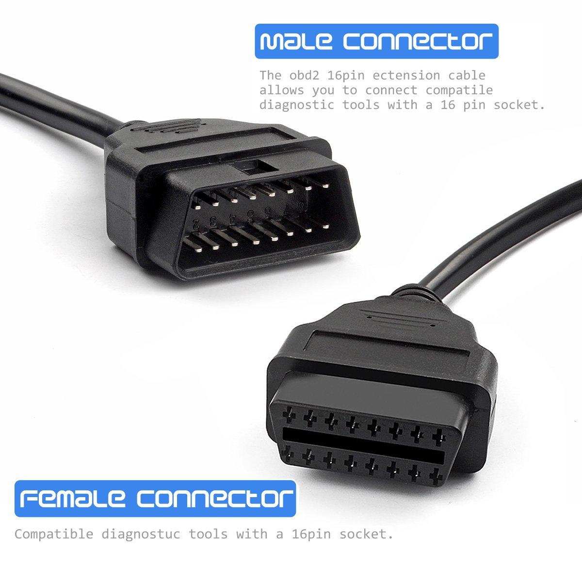 Cable de cable de extensión macho a hembra Cable de extensión divisor OBDII OBD2 OBDII de diagnóstico Cable: Amazon.es: Coche y moto