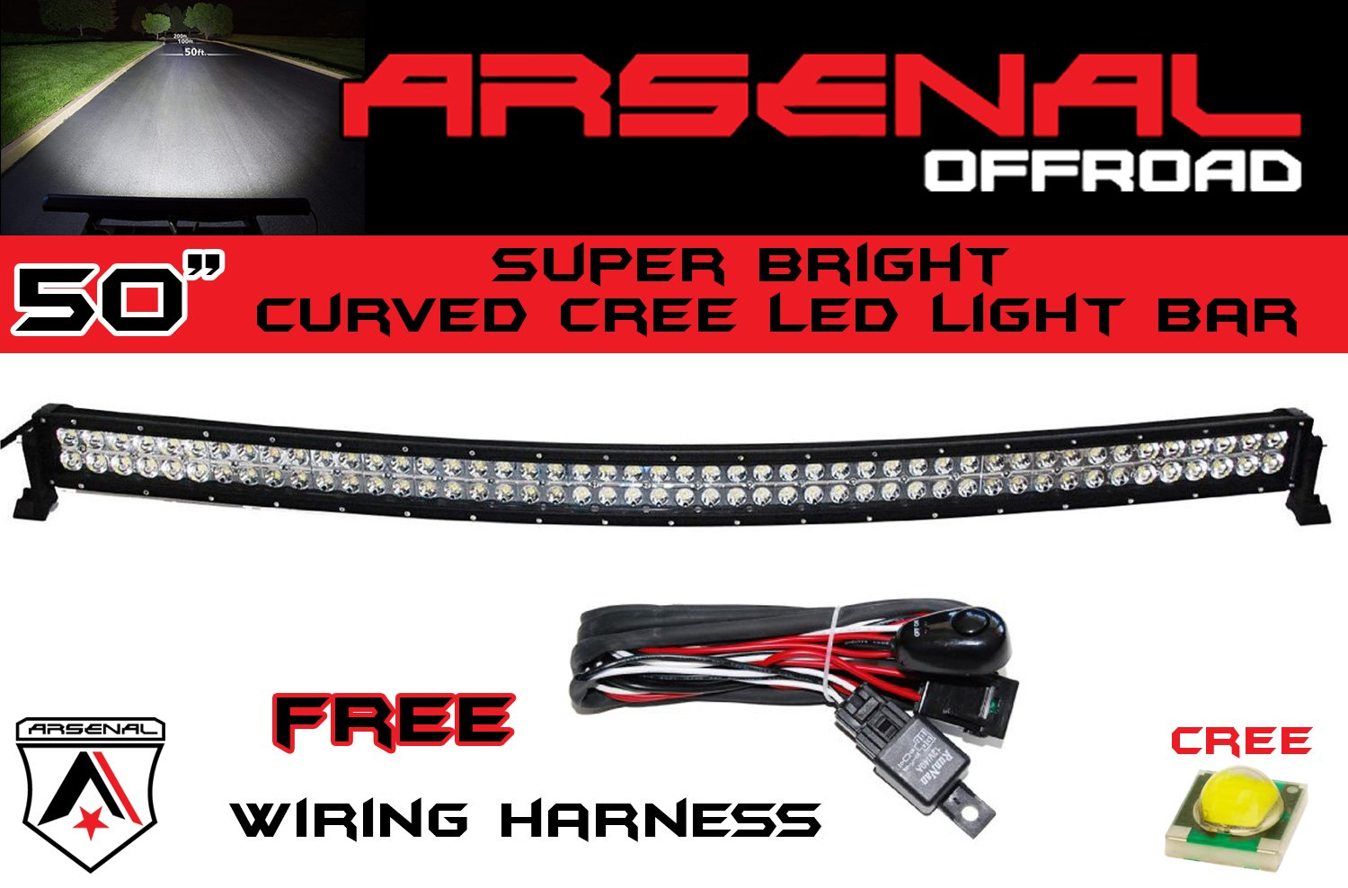 Amazon 50 inch curved 288w cree led light bar by arsenal amazon 50 inch curved 288w cree led light bar by arsenal offroad tm spot flood combo beam off road 4x4 radius fog jeeps truck mozeypictures