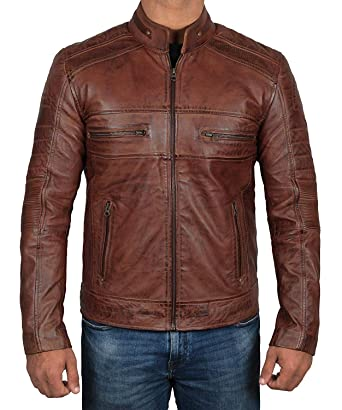 Genuine Brown Leather Jacket Men Motorcycle Distressed Lambskin