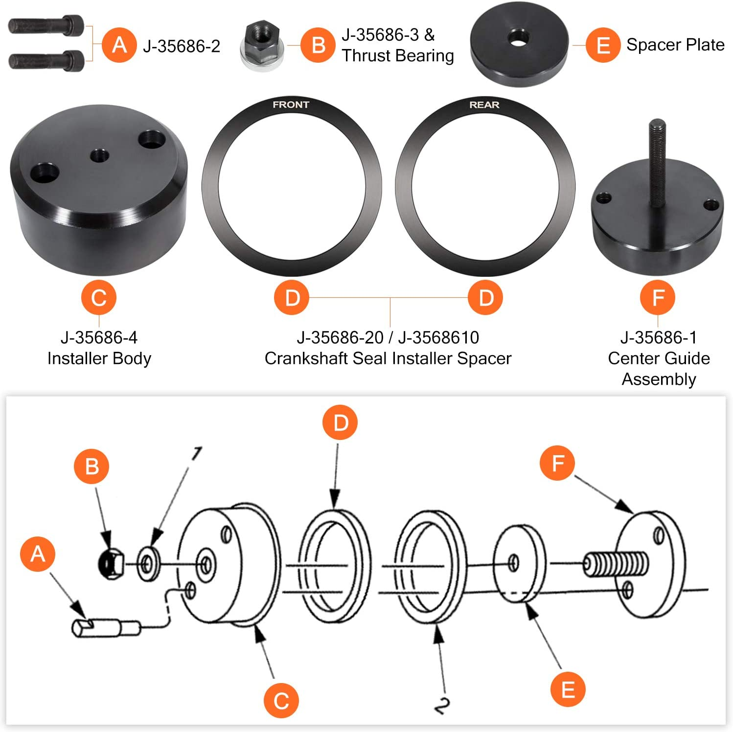 J-35686-b Front and Rear Crankshaft Seal and Wear Sleeve Installer for Detroit Diesel Series 60 Two Cycle 92 Engines
