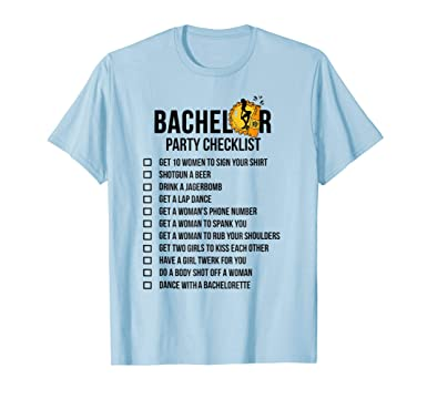 amazon com bachelor party checklist shirt getting married tee for