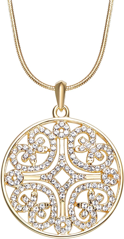 Epinki Shiny Crystal Women Necklace Circle Shape Pendant Chain with Cubic Zirconia