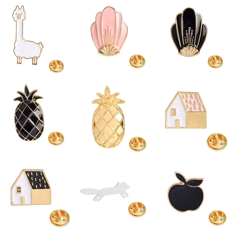 Cartoon Enamel Pins Fruit Pineapple Apple Brooches Pin Badges Cute Metal Animal Horse Brooches,9 by Baolustre (Image #5)