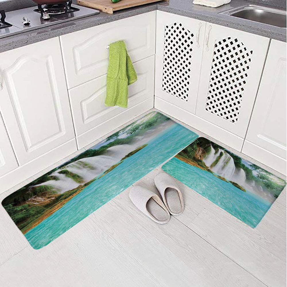 2 Piece Non-Slip Kitchen Mat Rug Set Doormat 3D Print,Forest Tropical Waterscape Clear Pool,Bedroom Living Room Coffee Table Household Skin Care Carpet Window Mat,