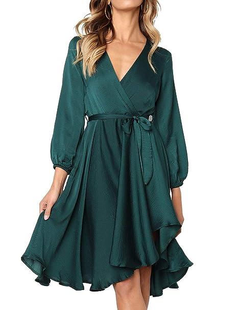 54f18e3766 Amazon.com  WLLW Women Elegant Satin V Neck Long Sleeve Bow Tie Waist  Asymmetric Ruffle Hem Dress  Clothing