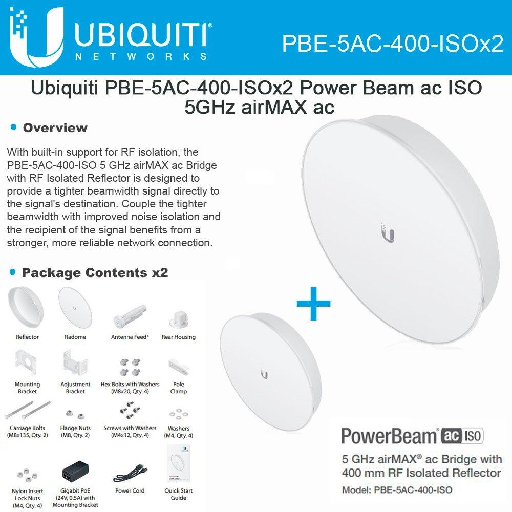 Ubiquiti PBE-5AC-400-ISO 2-PACK PowerBeam AC ISO 5GHz 25dBi 400mm ISO 25+km