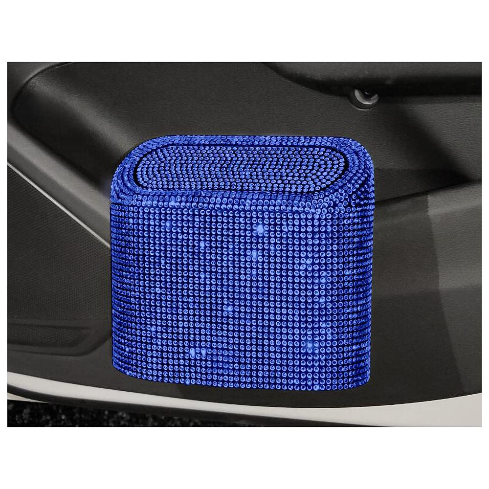 HappyERA Bling Rhinestone Car Trash Can with Lid, Mini Crystal Hanging Auto Garbage Can Vehicle Plastic Trash Bin Dustbin Organizer Container for Car Office Home - Blue