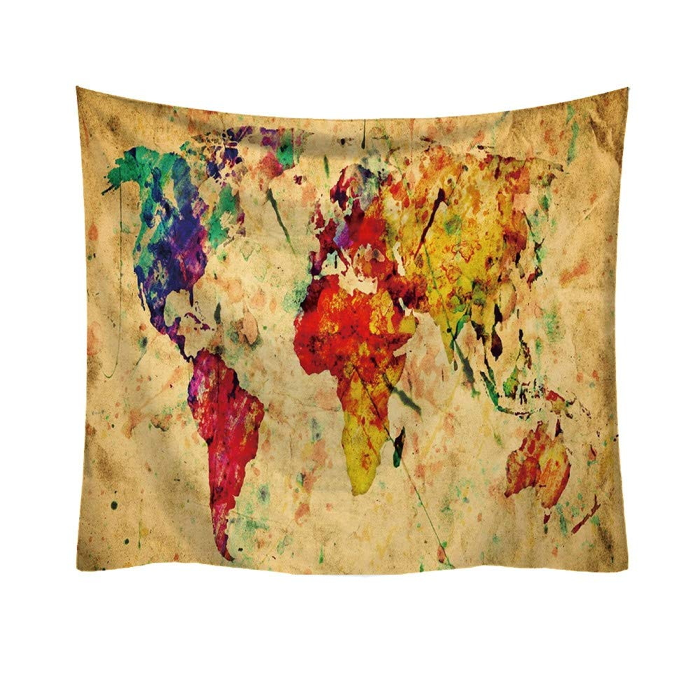 MiniPoco Wall Hanging Fashion Tapestry World Map Pattern Fresh Egypt Style Wall Art Room Home Decor Collage Dorm Decoration 95X73CM (A) MiniPoco Tech