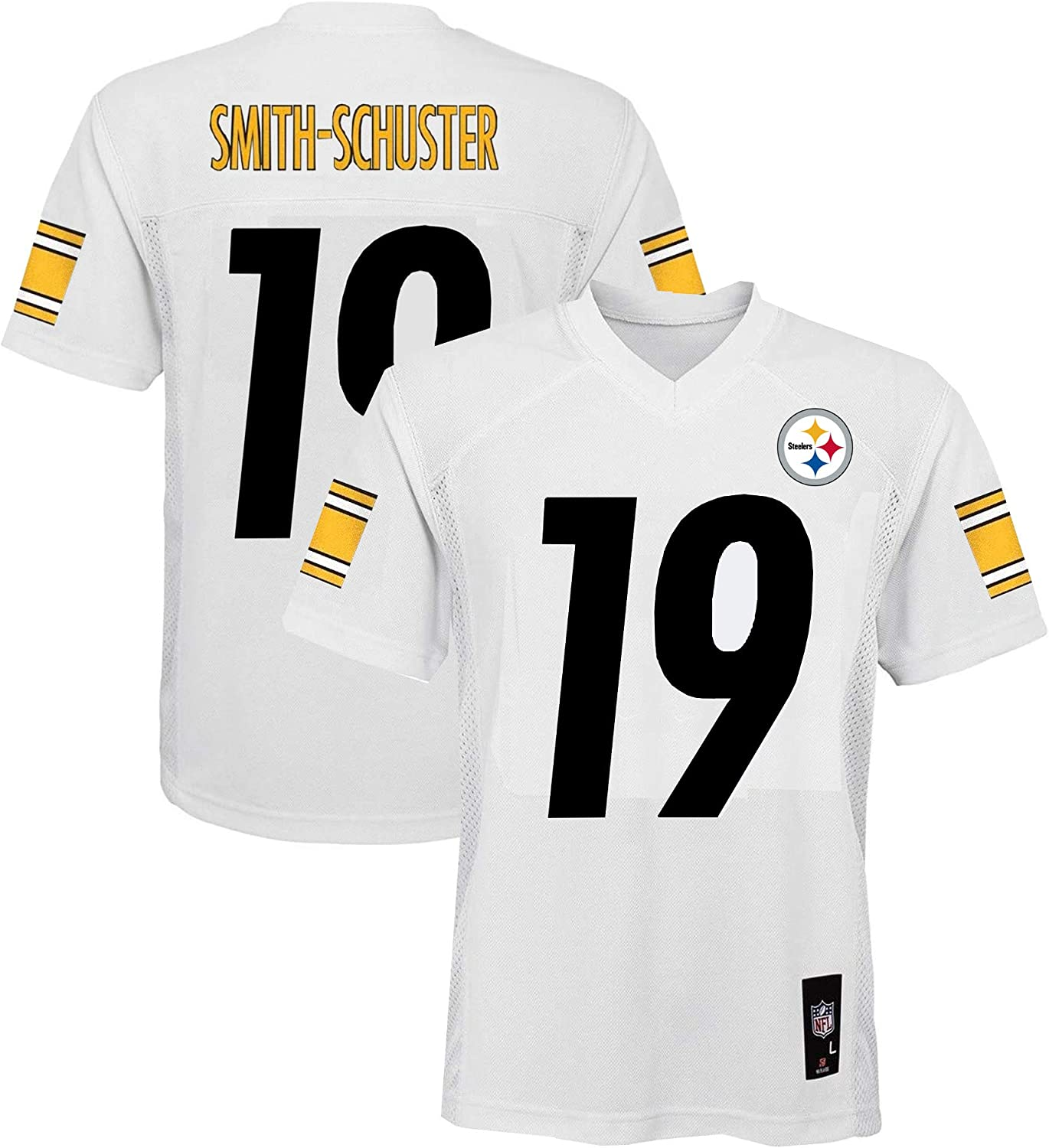 Juju Smith-Schuster Pittsburgh Steelers NFL Boys Youth 8-20 White Road Mid-Tier Jersey