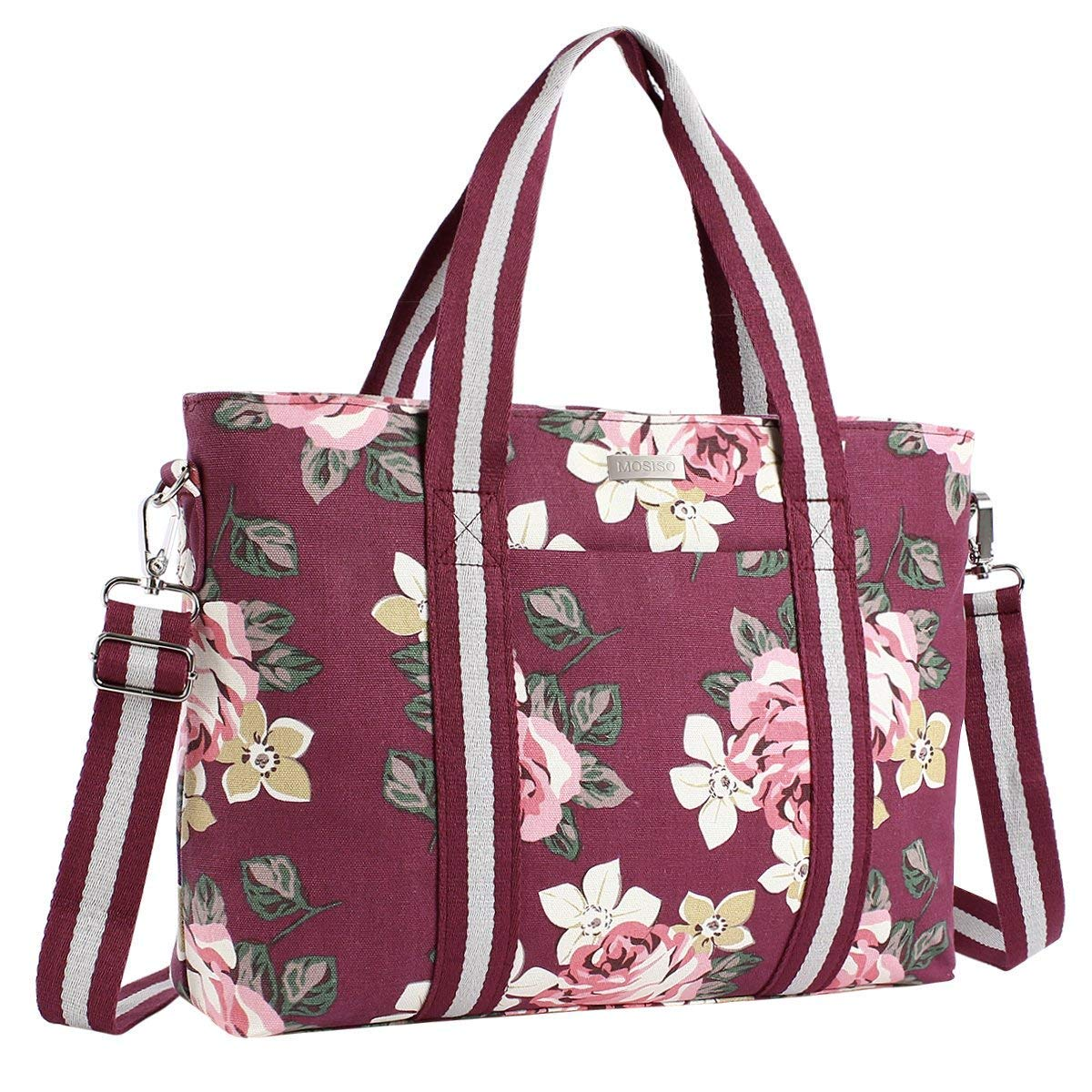 Mosiso Laptop Tote Bag (Up to 15.6 Inch), Canvas Classic Rose Multifunctional Work Travel Shopping Duffel Carrying Shoulder Handbag Notebook, MacBook, Ultrabook Chromebook Computers, Gray OT-15-Canvas-Rose-Tote-GY