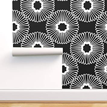 Spoonflower Peel And Stick Removable Wallpaper Flower Black White Modern Home And Nature Floral Decor Print Self Adhesive Wallpaper 12in X 24in Test Swatch Amazon Com