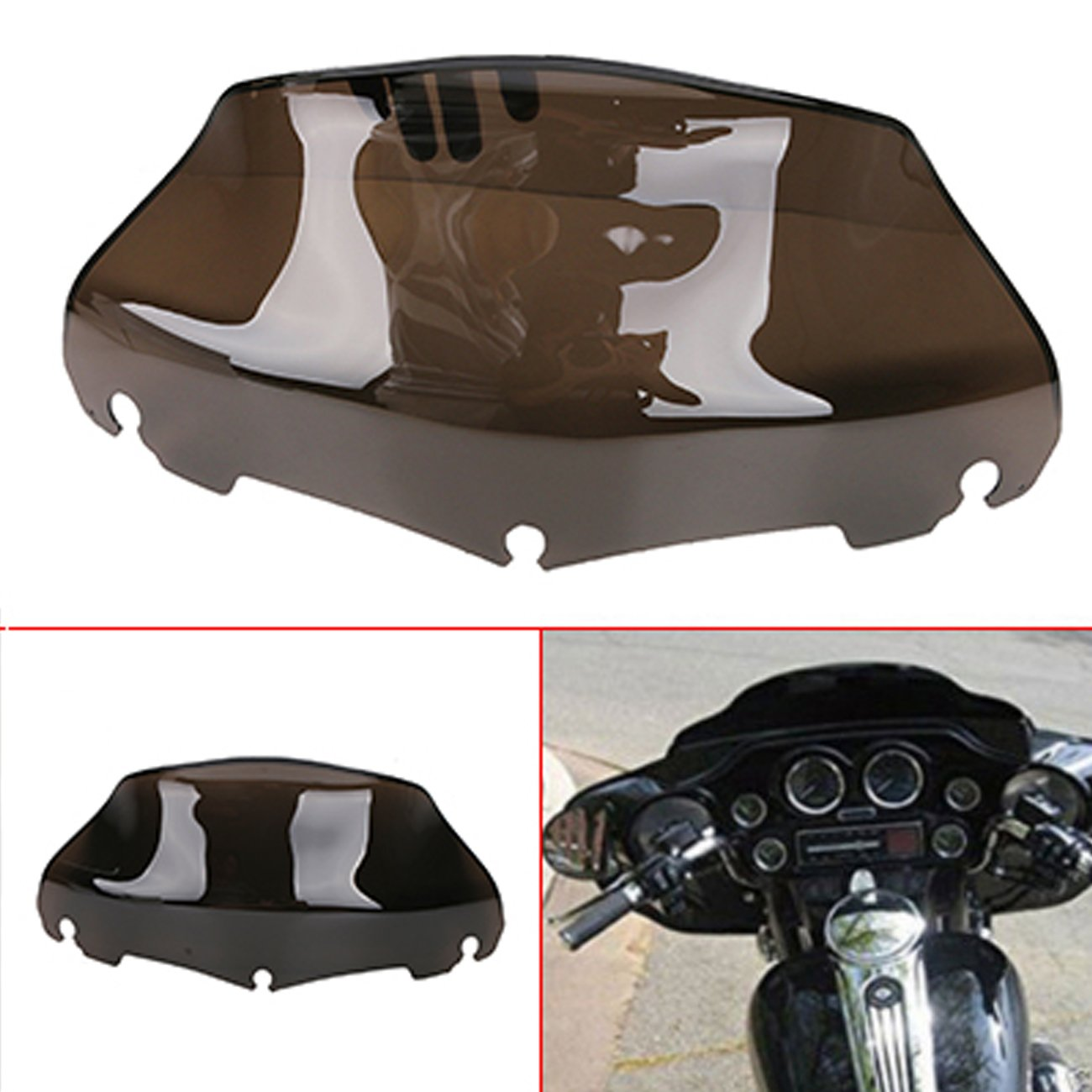Motorcycle 9' Wave Windshield Windscreen with Smoked Dark for Harley FLHT FLHTC FLHX Touring 2014-2017 Espear