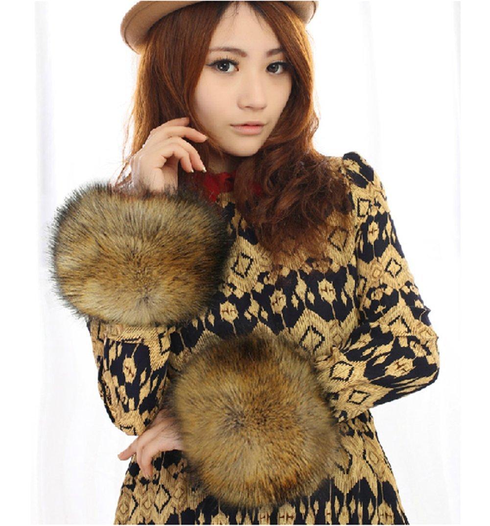 2014 Luxury multicolor Faux Fox Fur Wristband Arm Warmer Cuff Oversleeve Gloves all-match Cufflinks Brown