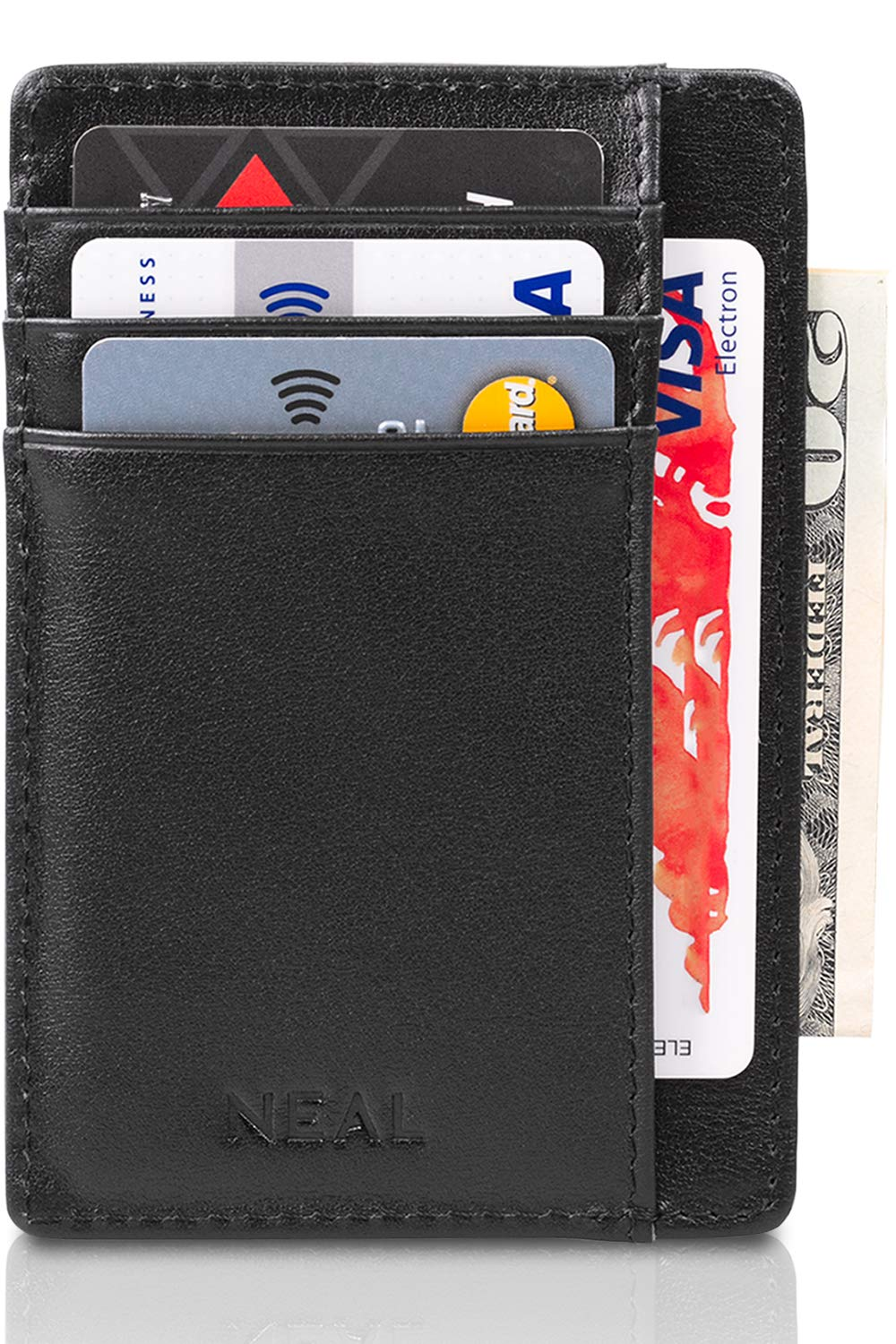 NEAL Front Pocket Slim Wallet RFID Blocking, Top Grain Leather Set with Gift Box