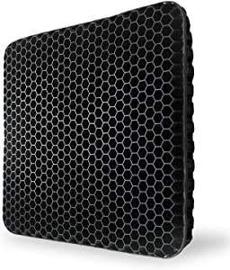 Gel Seat Cushion,Double Thick Egg Seat Cushion with Non-Slip Cover Breathable Honeycomb Pain Relief Egg Sitting Cushion for Office Chair Car Wheelchair(Black)
