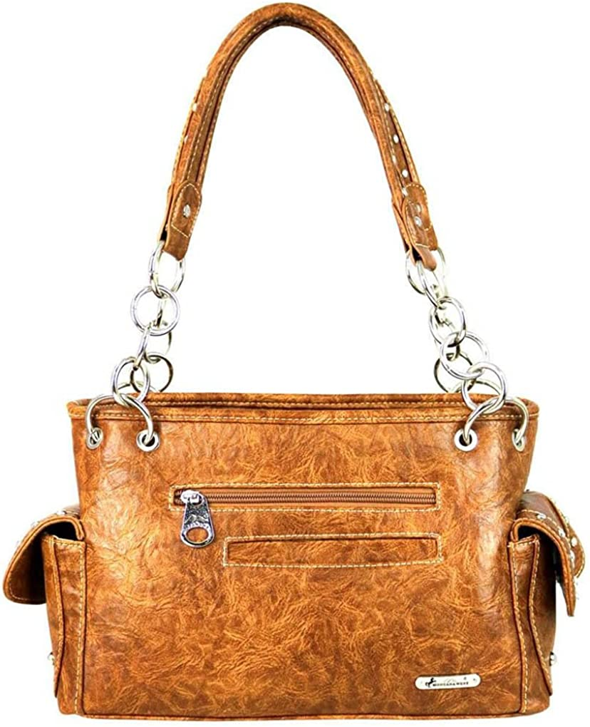 Western Satchel Shoulder Handbag Bundle w Leather Coin Purse