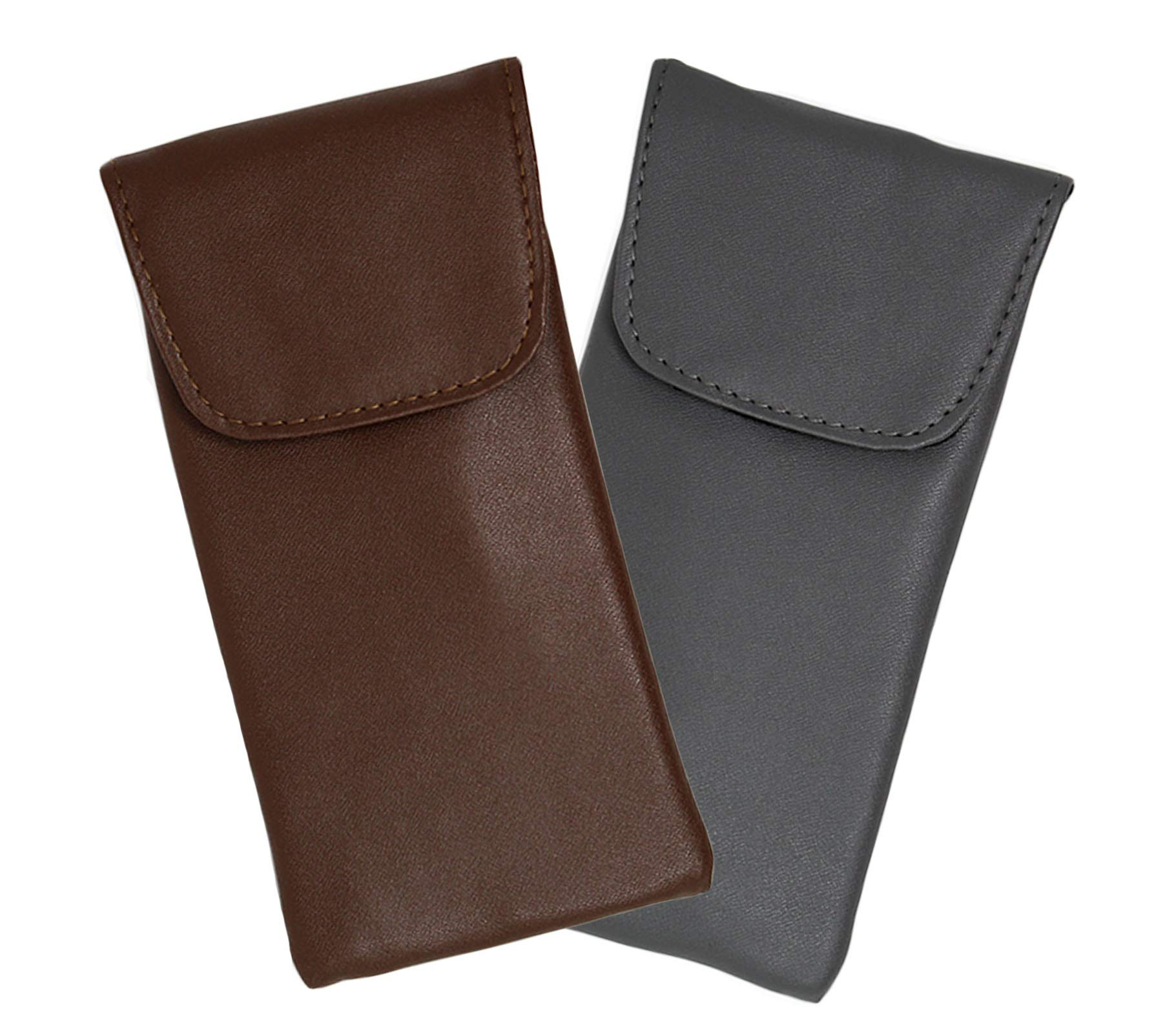2 Pack Eyeglass Case Top Closure, Slip In Eyeglass Case Soft Faux Leather For Large Glasses, Men by Ron's Optical