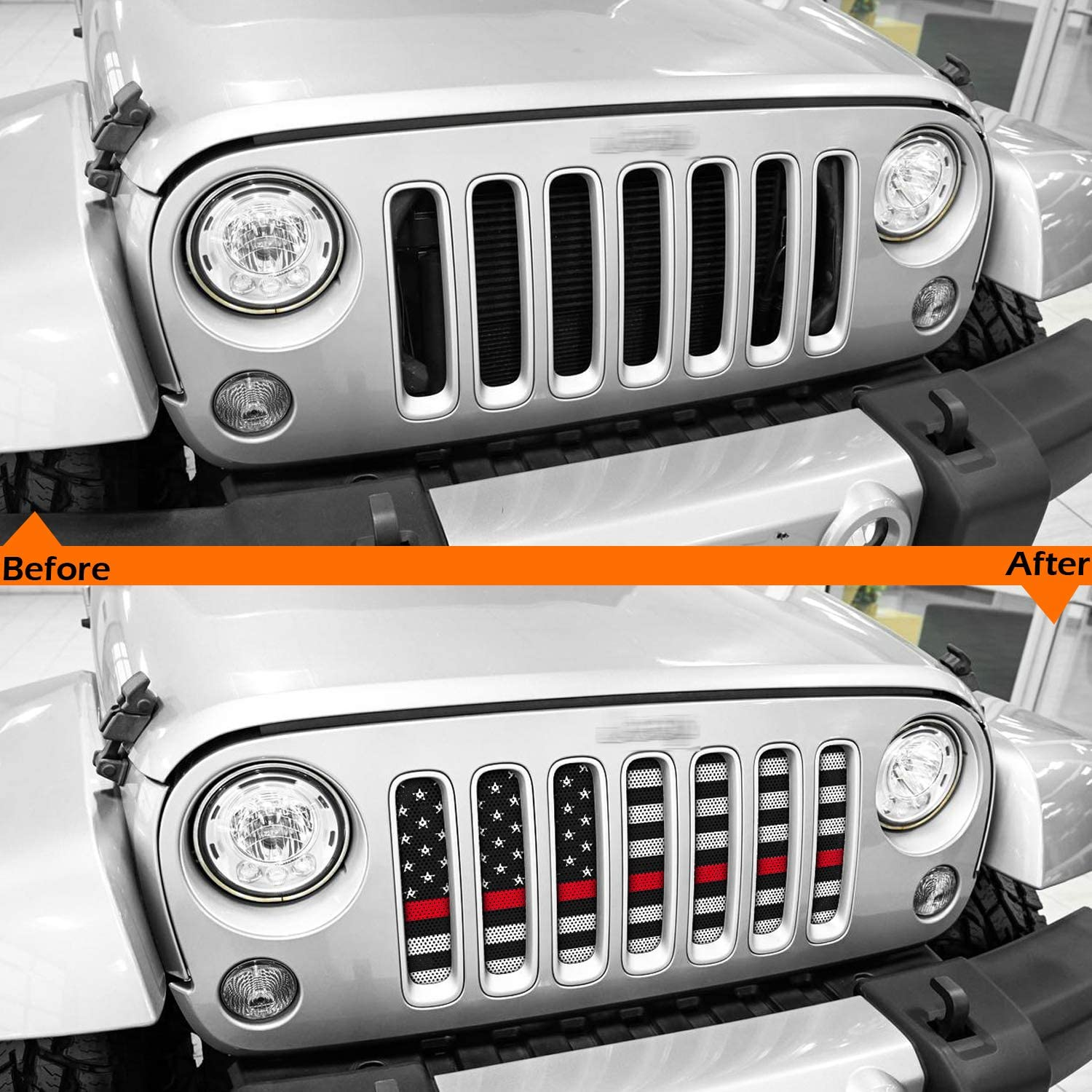 White /& Red Fit for Jeep Wrangler JK /& Unlimited 2007-2018 Yoursme Front Grille Grid Grill Screen Insert American Flag Design Black