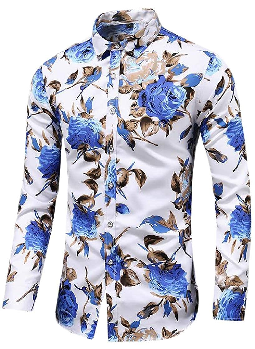 Joe Wenko Mens Slim Fit Button Front Long Sleeve Casual Floral Print Shirts