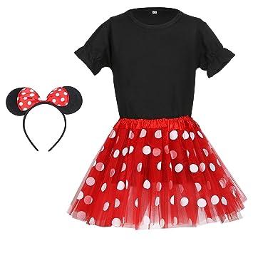 b8cf16565ef6a infeel ミニー コスチューム コスプレ キッズ 赤 ドットスカート Tシャツ カチューシャ 3点 セット 子供 用