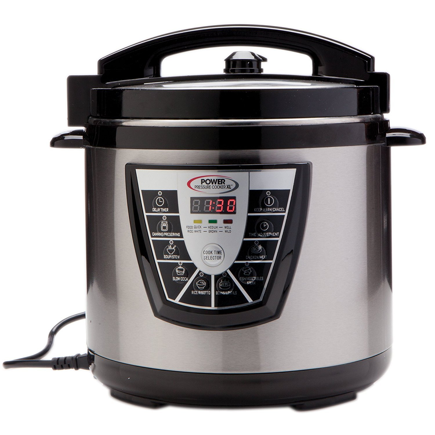 Power Pressure Cooker XL 8 Quart, Digital Non Stick Stainless Steel Steam Slow Cooker and Canner