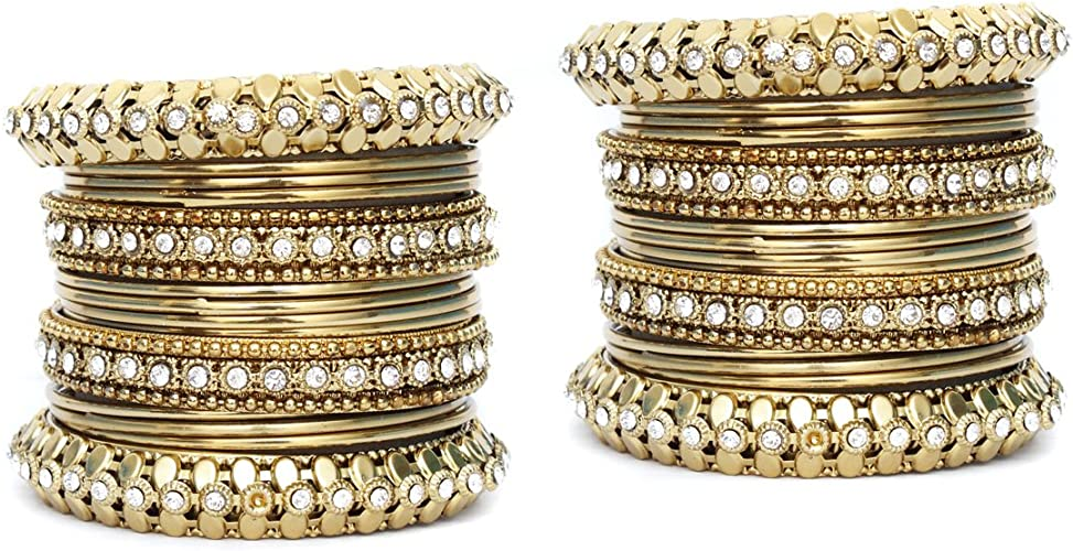 Women  Gold Plated Polki Bangle Bracelet 2Pc Indian Fashion Party Wear Wedding