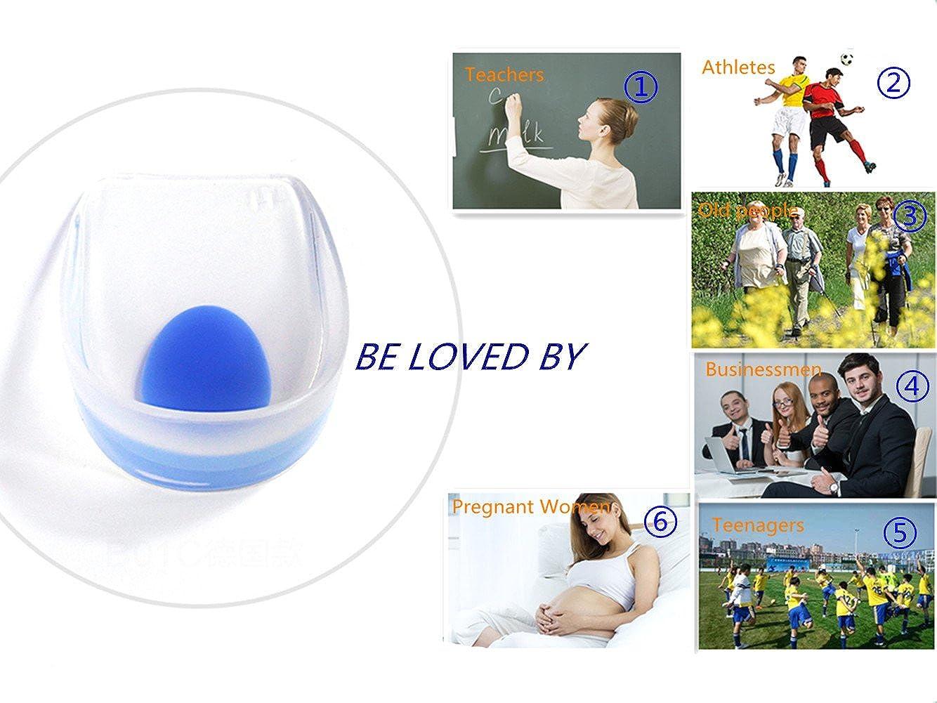 espfree Heel Cups Semelles Grandissantes et Orthop/édiques Talonnettes en Gel de Silicone Coussinets plantaires et pour le talon Confort Anti-choc Homme Femme bleu+blanche