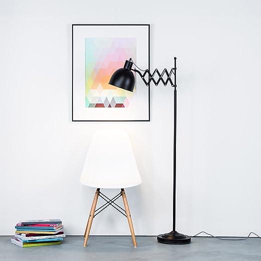 Lámpara de pie de diseño retro con articulación de tijera y cable de tela, color negro mate, interruptor de pie, altura de 150 cm, 1 bombilla E27 de ...