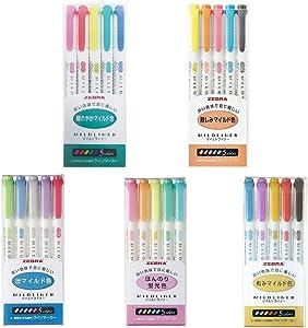 Zebra MildLiner Complete Set 25 Vibrant Colors Great for Text Highlighting, Kids, Office, College, School (WKT7-5C WKT7-5C-NC WKT7-5C-RC WKT7-N-5C WKT7-5C-HC)