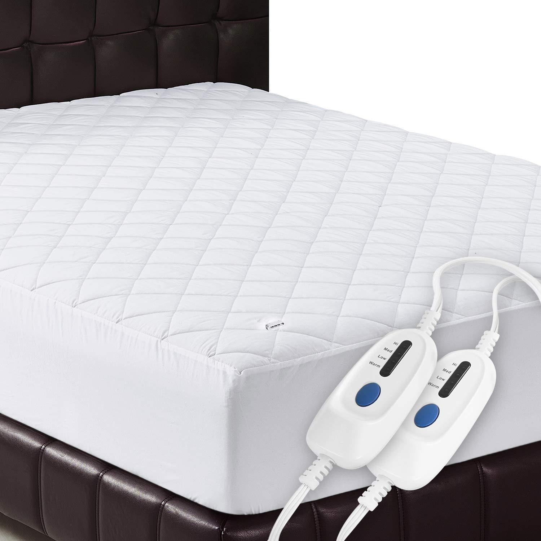 Utopia Bedding Heated Electric Mattress Pad - Machine Washable, 4 Heat Settings, 78 x 80 Inches (King, White)