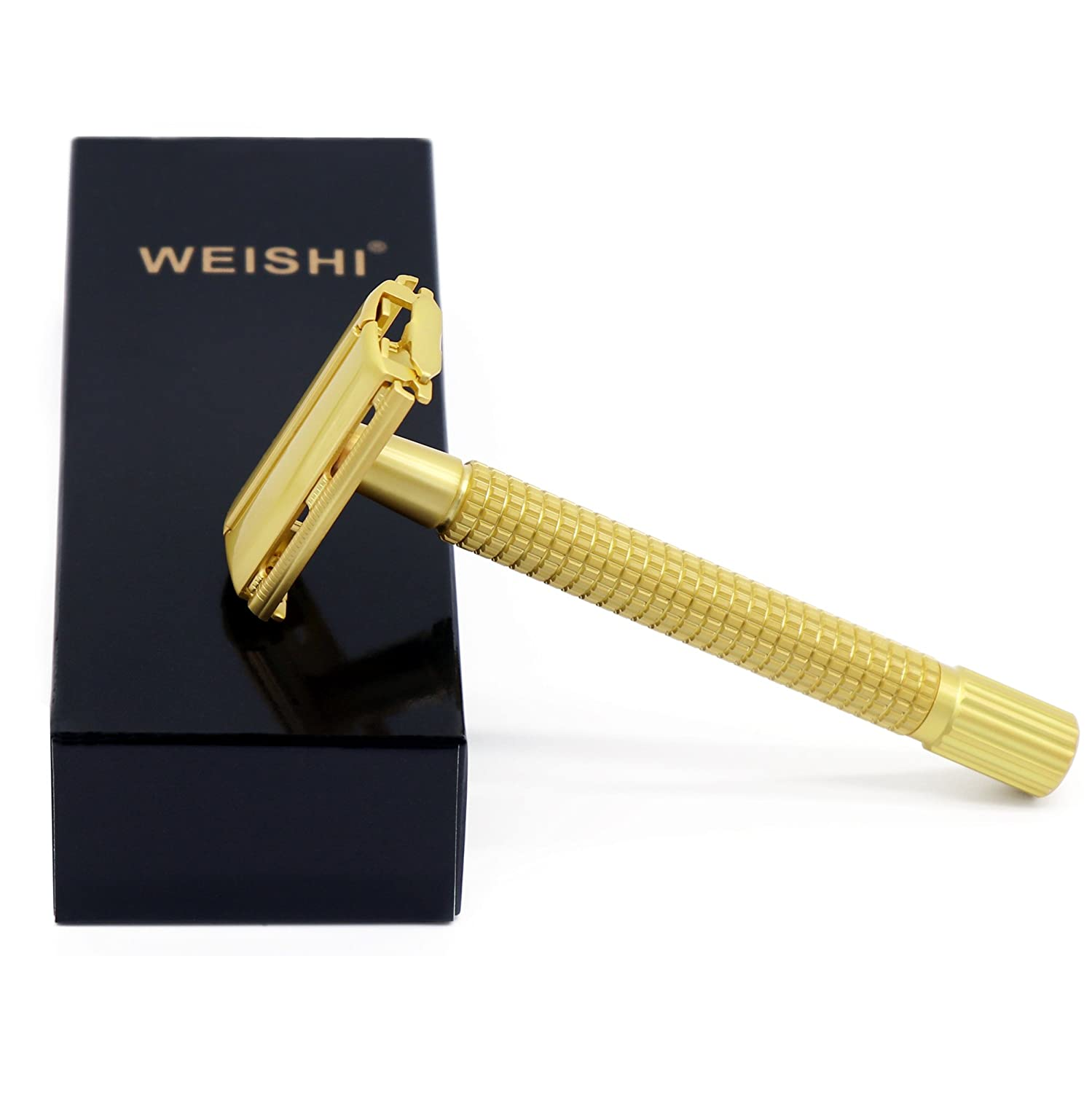 WEISHI Matte Gold Color Long Handle Butterfly Open Double Edge Safety Razor Twist to Open Shaver