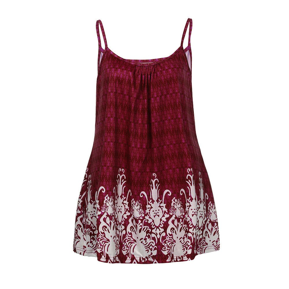 Women's Summer Floral Print Tops Plus Size Loose Fit Spaghetti Strap Camisoles Tunic Tank Tops Yamally Wine Red