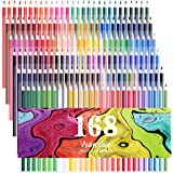 168 Colored Pencils - 168 Count Including 12 metallic & 8 Fluorescence Vibrant Colors (No Duplicates) Art Drawing Colored Pencils Set for Adult Coloring Books, Sketching, Painting