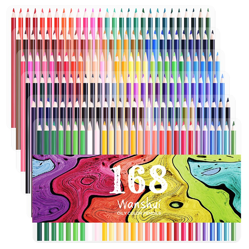 168 Colored Pencils - 168 Count Including 12 Metallic 8 Fluorescence Vibrant Colors No Duplicates Art Drawing Colored Pencils Set for Adult Coloring Books, Sketching, Painting by Wanshui