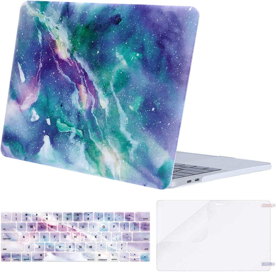 MOSISO MacBook Pro 13 inch Case 2019 2018 2017 2016 Release A2159 A1989 A1706 A1708, Plastic Pattern Hard Shell Case&Keyboard Cover&Screen Protector Compatible with MacBook Pro 13, Galaxy Marble
