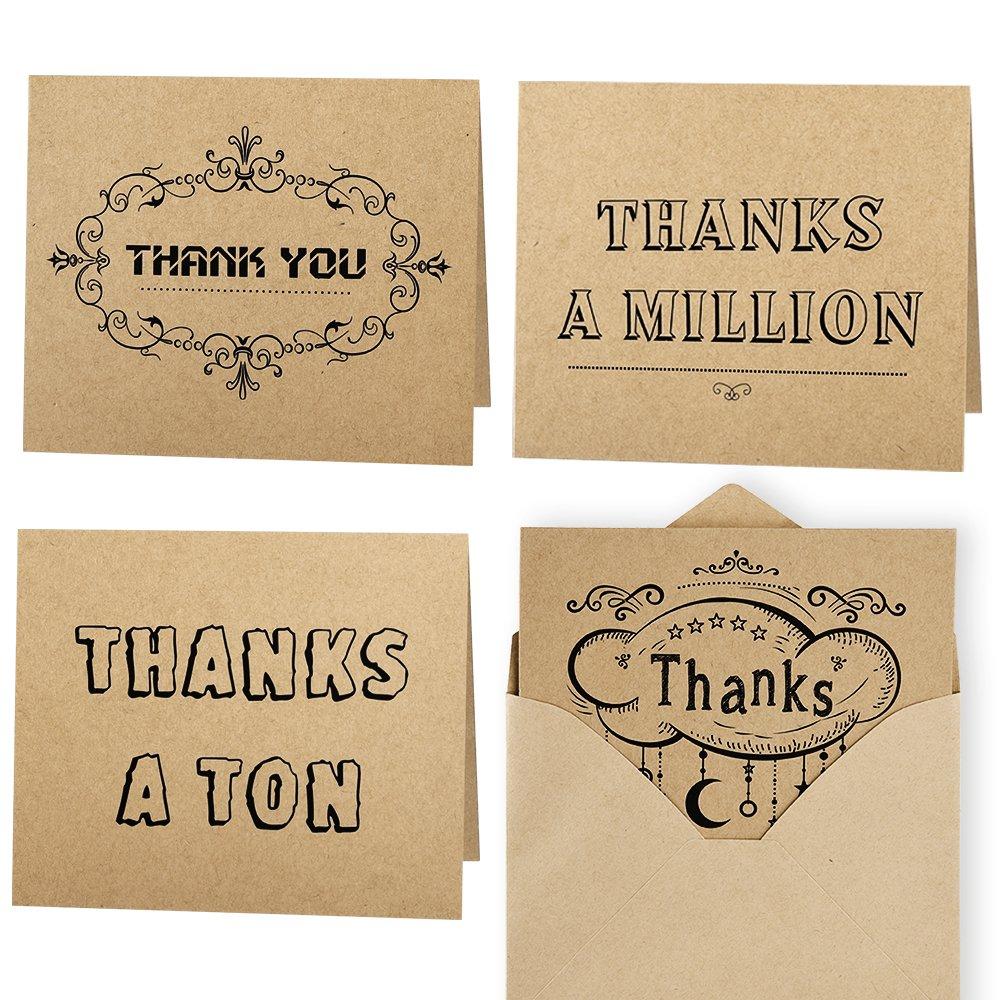 Kuuqa Thank You Cards Biglietti di Ringraziamento Biglietti di Auguri 20 Pezzi con 20 Buste (4 Disegni)