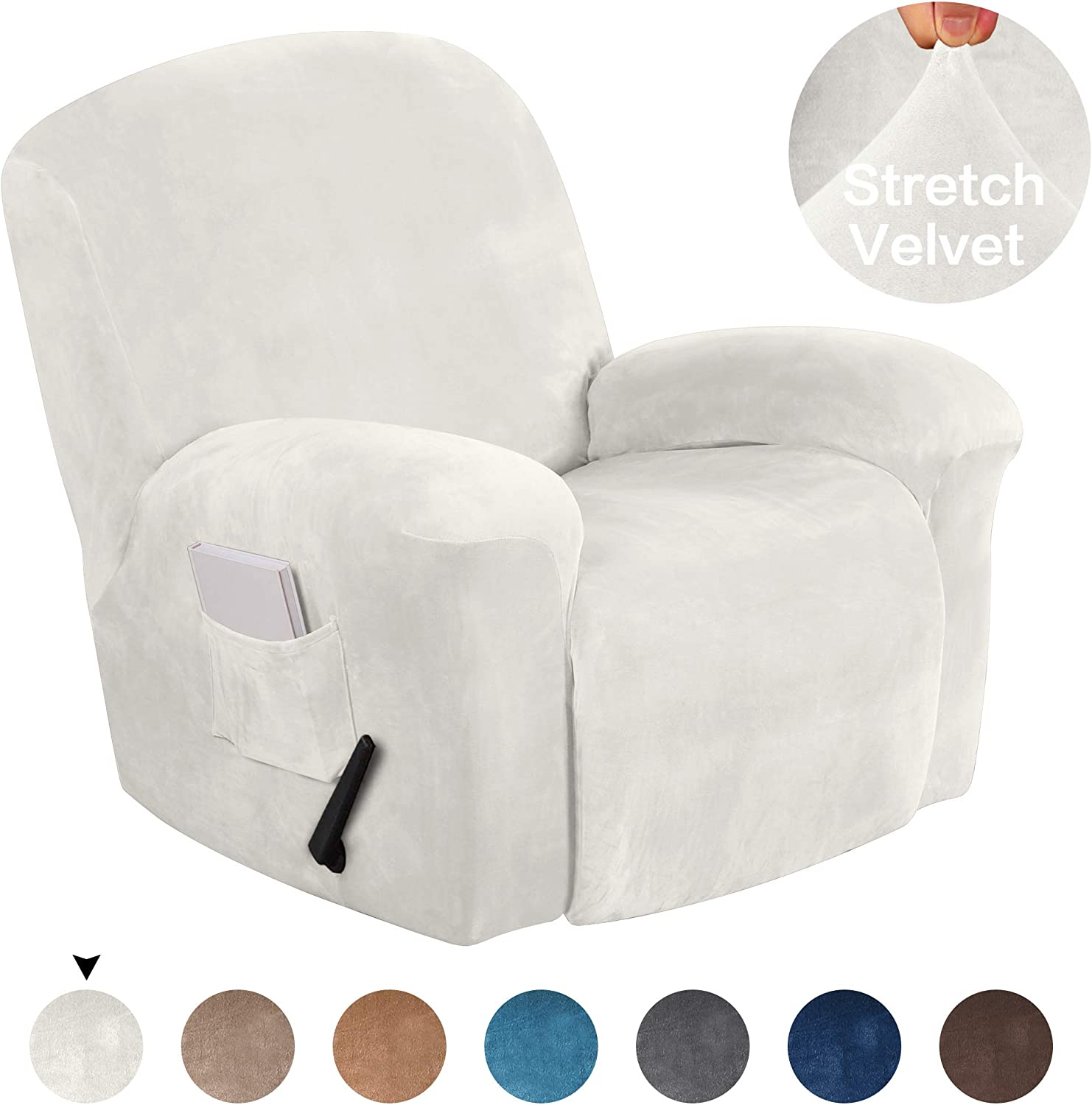 Turquoize Stretch Recliner Covers Stretch Recliner Slipcovers Velvet Recliner Chair Cover for Large Recliner Furniture Protector with Elastic Bottom 1 Piece with Side Pocket (Recliner, Ivory)
